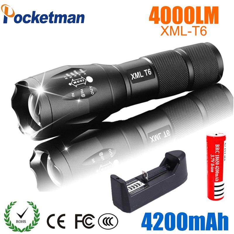 Фонарик Pocketman XML T6, светодиодный перезаряжаемый, мощностью 4000 люмен с аккумулятором 18650