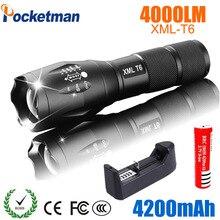 Pocketman lanterna de led recarregável xml t6, farol 4000 lúmens pilha 18650 uso externo acampamento iluminação de led potente
