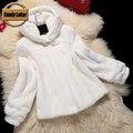2016 Nova Moda Casaco Com Capuz de Pele De Vison Mulheres de Pele do Inverno jaqueta Curta Genuine Casacos De Pele De Vison Fêmea Russa Casacos De Peles Naturais