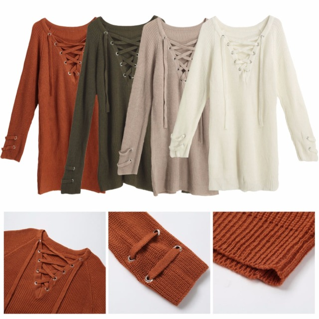 2017 Women V Neck Knitted Lace-up Sweater Striped Bandage Cross Ties Pullover Loose Casual Long Knitwear Jumper Top Sweter Mujer
