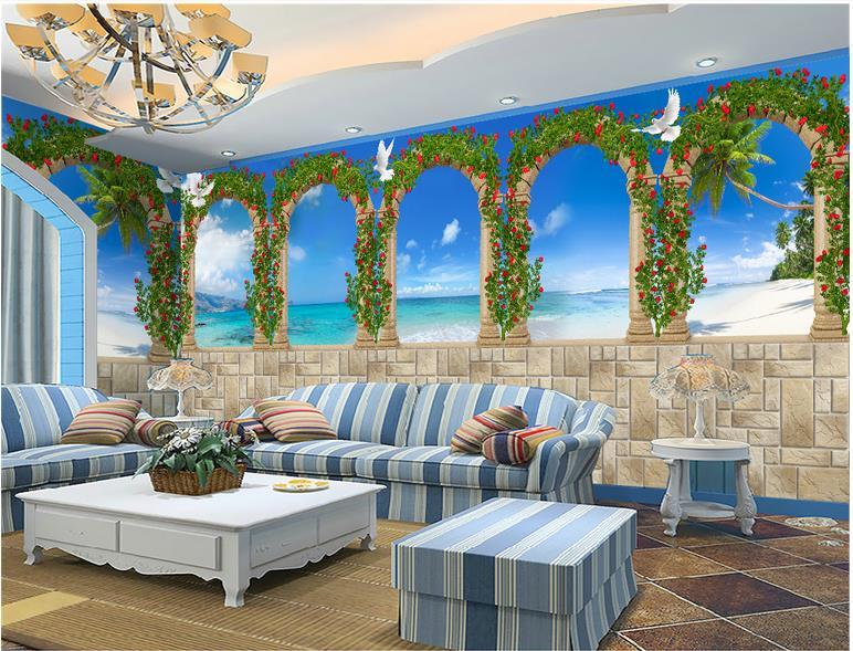 Custom 3 D Photo Wallpaper Wall Murals 3d Wallpaper Beach: Custom 3d Photo Wallpaper 3d Wall Mural Wallpaper Mural
