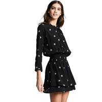 Black Sexy Mini Dress Lovely Star Printed Slim Bow Tie Pleated Waist Buttons Ruffled V Neck Women Girls Summer Streetwear