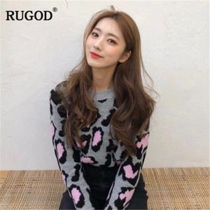Image 2 - RUGOD Vintage Fashion Leopard Women Sweaters Knitted Warm Winter Clothes Casual O Neck Women Pullover pull femme hiver