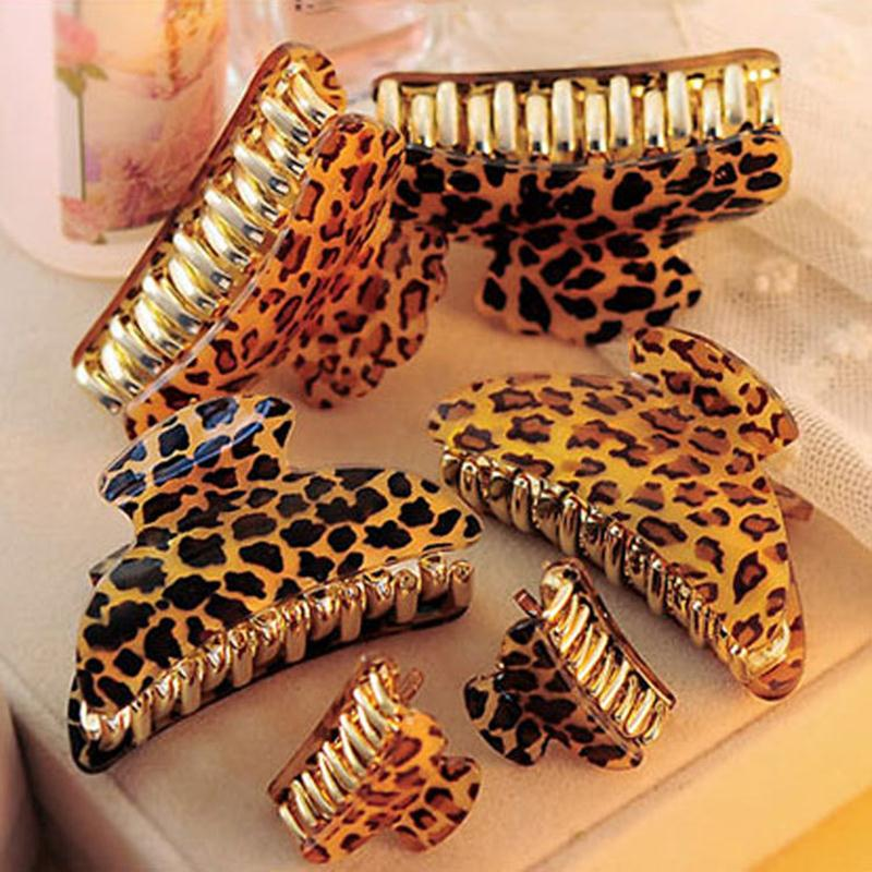 Arcylic Leopard Hairpins Hair Clip Trendy Crab Hair Claws For Women Girl Hair Accessories Hair Gripper 2016 High Quality 3 Size halloween party zombie skull skeleton hand bone claw hairpin punk hair clip for women girl hair accessories headwear 1 pcs