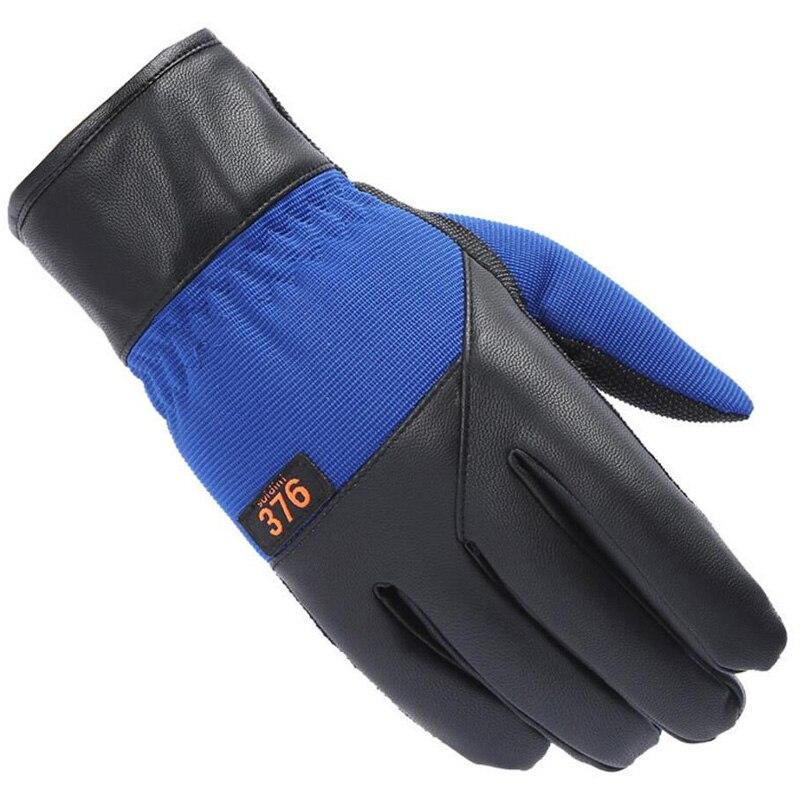 CKAHSBI Winter Men Outdoor Sport Skiing Gloves Windproof Leather Warm Man Ski Gloves Cycling Non-slip Thermal Snowboard Glove
