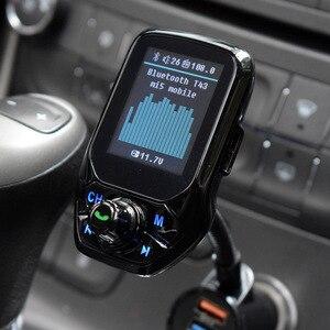 """Image 5 - Agetunr 블루투스 aux 차량용 키트 핸즈프리 세트 3 usb 포트 qc3.0 빠른 충전 fm 송신기 mp3 음악 플레이어 1.8 """"tft 컬러 디스플레이"""