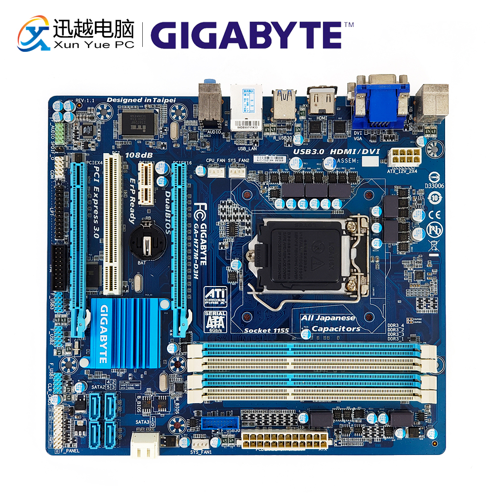 Gigabyte GA-H77M-D3H Desktop Motherboard H77M-D3H H77 LGA 1155 i7 i5 i3 DDR3 32G SATA3 USB3.0 VGA DVI HDMI PCI-E 3.0 Micro-ATXGigabyte GA-H77M-D3H Desktop Motherboard H77M-D3H H77 LGA 1155 i7 i5 i3 DDR3 32G SATA3 USB3.0 VGA DVI HDMI PCI-E 3.0 Micro-ATX