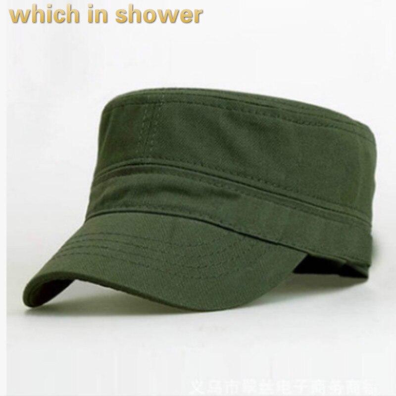 Qui dans la douche solide militaire chapeau pour femmes hommes coton blanc armée cap réglable d'été casquette plate mâle femelle snapback soleil os
