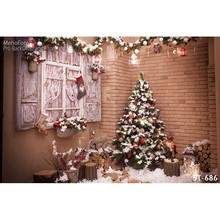 Christmas background vinyl photography backdrops Computer Printed christmas tree and Gift box for Photo studio ST-686