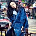 Пальто женщин весной джинсовой синий harajuku 2016 женщины моды негабаритных boyfriend пальто дамы sexy boyfriend джинсовые куртки AA441