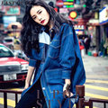 Coat female spring denim blue harajuku 2016 women fashion oversized boyfriend coat ladies sexy boyfriend denim jacket AA441