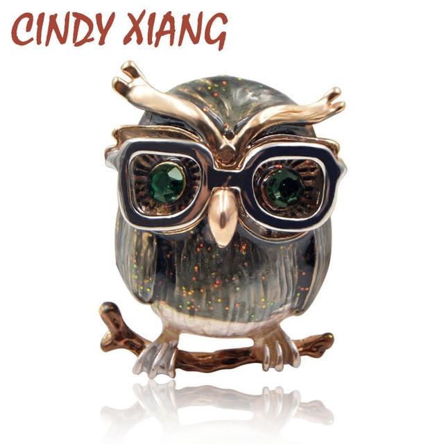 CINDY XIANG Cute Green Eyes Owl Brooch Wear Glasses Fashion Enamel Pin Animal Br