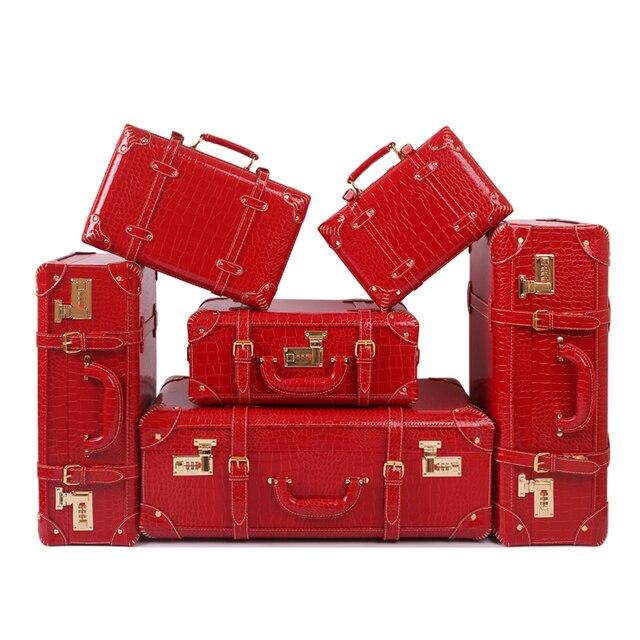 Оптовые! Женский полный красный 6 штук замуж чемодан наборы, корея моды 11 14 15 18 22 24 дюймов невеста чемодан наборы, красный кожа pu