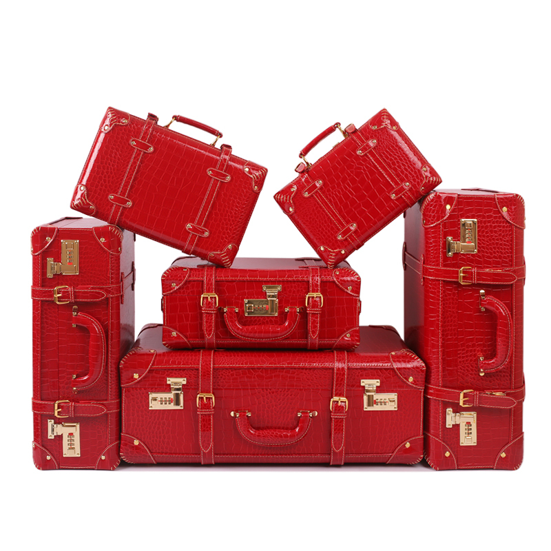 Wholesale Female full red 6pieces married suitcase font b sets b font korea fashion 11 14