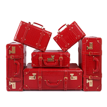 Wholesale!Female full red 6pieces married suitcase sets,korea fashion 11 14 15 18 22 24inches bride suitcase sets,red pu leather