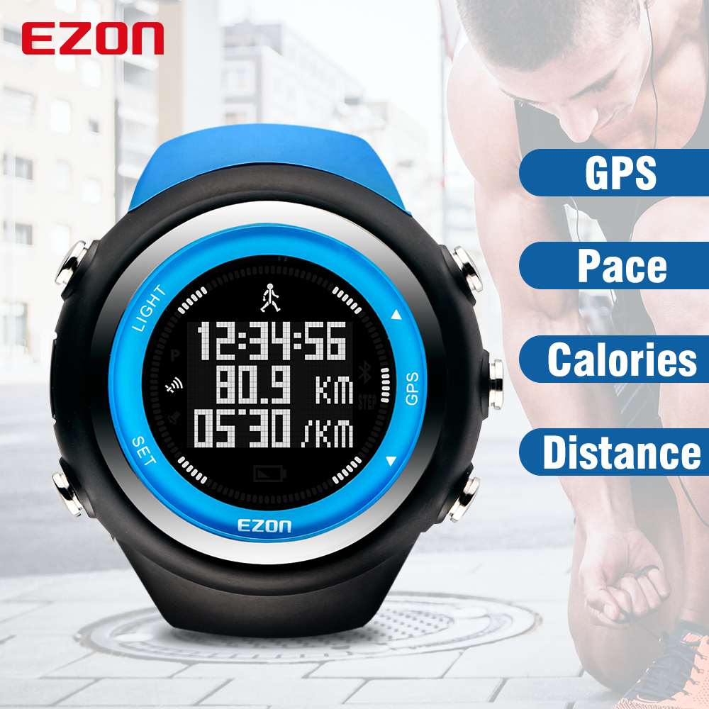 EZON GPS Timing Distance Speed Pace Calories Monitor Men and Women Sports Watches Digital Watch Running Wristwatch Montre Homme
