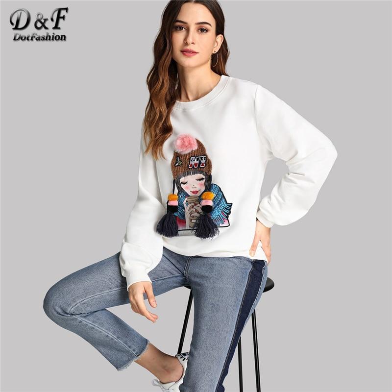 Dotfashion White Tassel Detail Figure Print Pullover Casual Faux Fur Pom Pom Long Sleeve Sweatshirts Women Autumn Minimalist Top