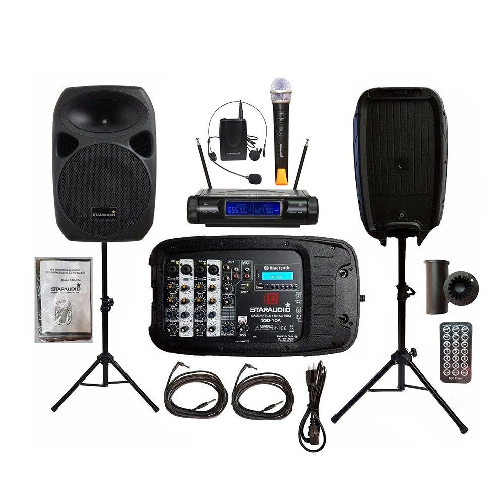Kombination-lautsprecher Staraudio Dual 10 Zoll 1500 W Dj Lautsprecher Pa Steht Powered Mixer Kabel 2ch Uhf Wireless Handheld Headset Mikrofon Set Ssd-10a