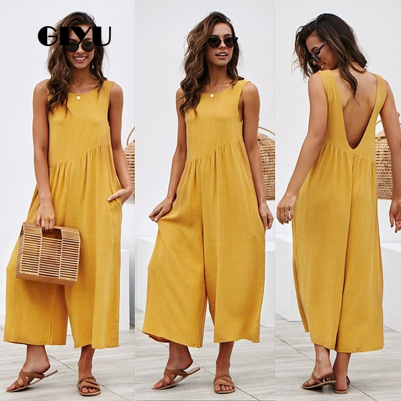 GIYU Sexy Backless Loose Long Jumpsuits With Pockets Women Hollow Out Strap Overalls Sleeveless Wide Leg Romper