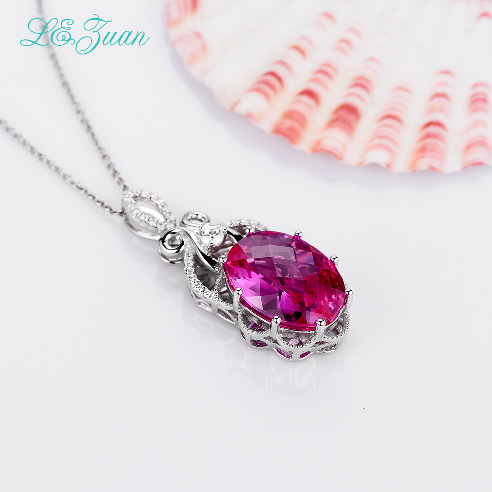 L&zuan 12.78ct Red Stone Pendants 925 Sterling Silver Necklace For Women Trendiest Luxury Pendant Choker цена 2017