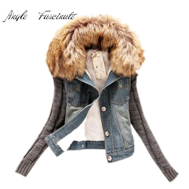 Casaco Feminino Mulheres Jaqueta Jeans Da Moda Móveis Lã Gola do Casaco de Peles de Inverno Jaqueta Bomber Jean Mulheres Casacos Básicos