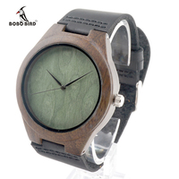 New Design Watch For Gift Natural Ebony Wood Watches Green Dial Leather Luxury Men Watches Wood