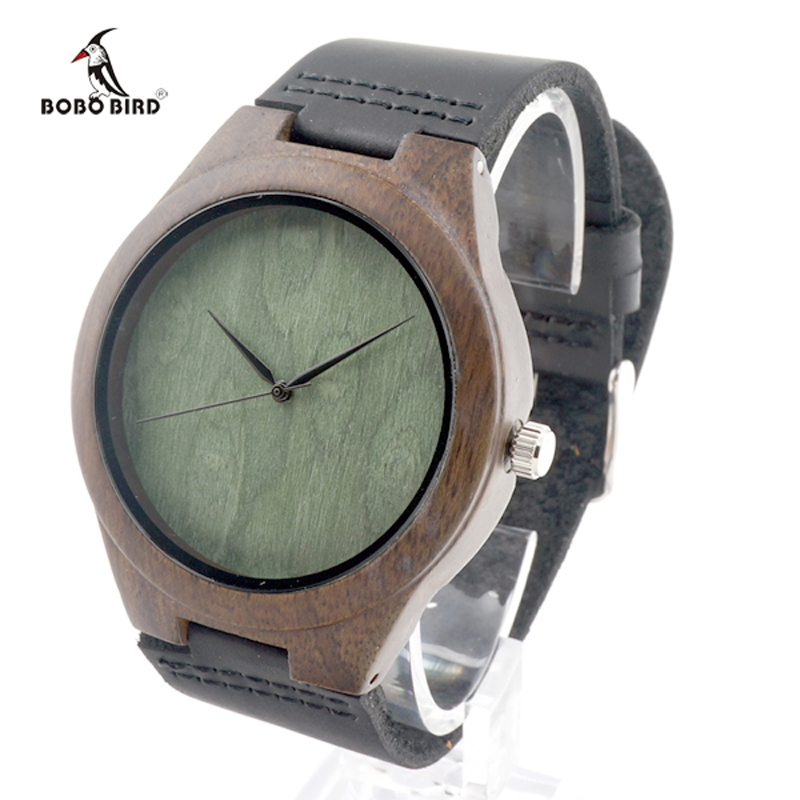 2017 Brand BOBO BIRD Black Wood Watch Men Leather Band Luxury Gift Watches relogio masculino C-F04 bobo bird luxury designer watches men style wooden watch wood strap wristwatch with paper gift box relogio masculino brand top