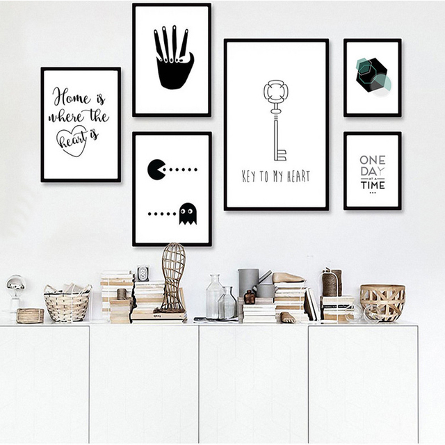Minimalist Nursery Canvas Painting Black White Posters Prints ...