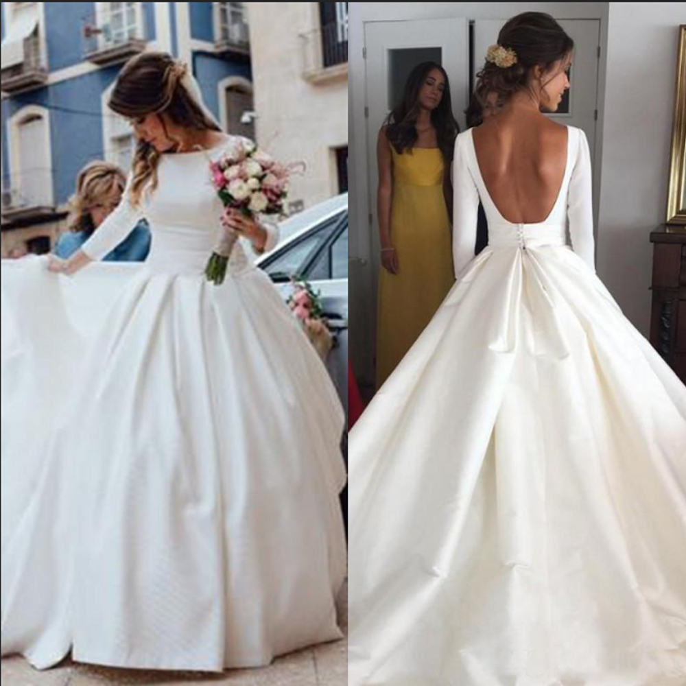 Simple Wedding Dresses Vintage Satin 3/4 Sleeve A-line Wedding Dress Country Cheap Garden Bridal Gown