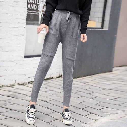 ירי אמיתי, חדש סתיו מכנסיים, נשים של מכנסיים, גרסה קוריאנית, בסגנון פרוע, רגליים רופפות, סרוג ספורט, Haren מכנסיים, נקבה R