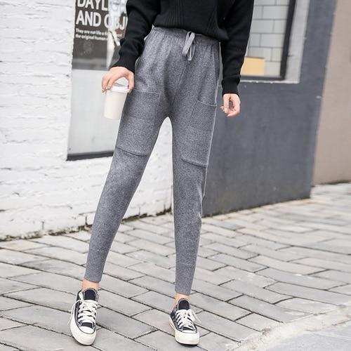 Tiro Real, nuevos pantalones de otoño, Pantalones de mujer, versión coreana, estilo salvaje, pies sueltos, deportes tejidos, pantalones Haren, mujer R