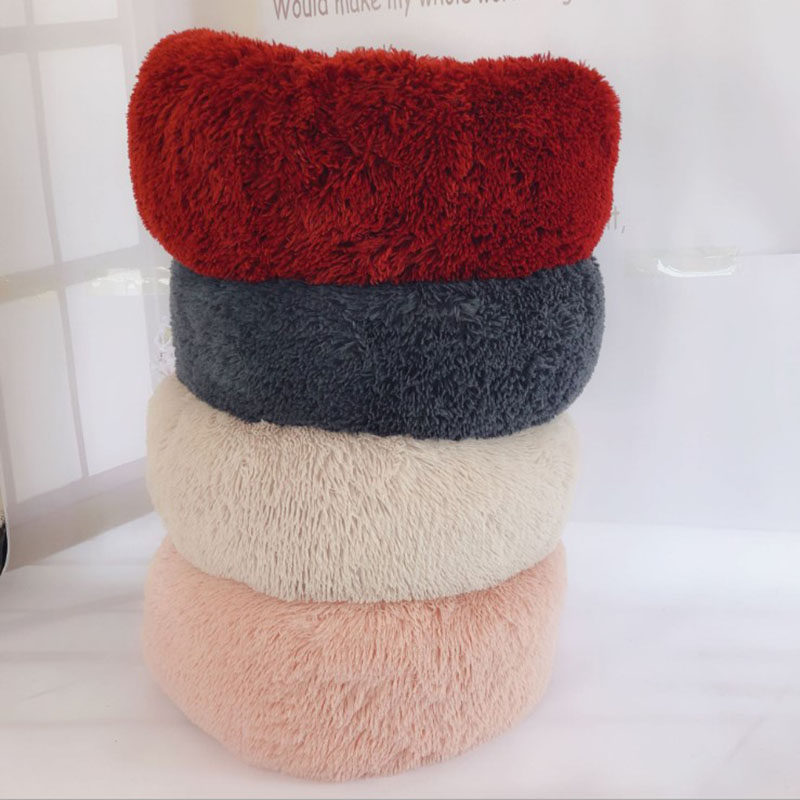 Super Soft Round Dog Bed Washable Warm Dog Kennel Long Plush Cat House Cotton Mats Sofa For Chihuahua Dog Sleeping Bed in Houses Kennels Pens from Home Garden