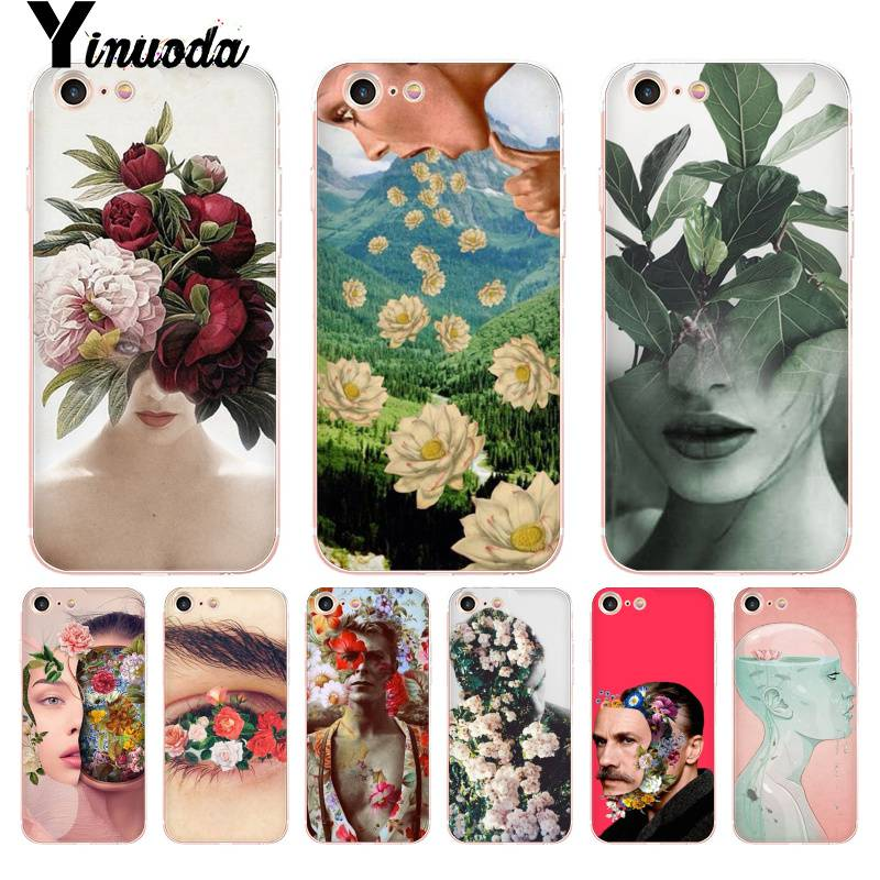Yinuoda Art Face <font><b>Filled</b></font> with Flowers Portrait <font><b>Coque</b></font> Shell Phone Case for <font><b>iPhone</b></font> 8 7 6 <font><b>6S</b></font> Plus X 5 5S SE XR XS XSMAX image