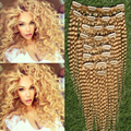 10pcs/set Brazilian Kinky Curly Human Hair Clip In Extensions Bleach Blonde Brazilian Remy Hair Beauty Product Curly Clip Ins