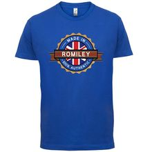 Made In ROMILEY Mens T-Shirt - Town / City 13 Colours Print T Shirt Short Sleeve Hot Tops Tshirt Homme