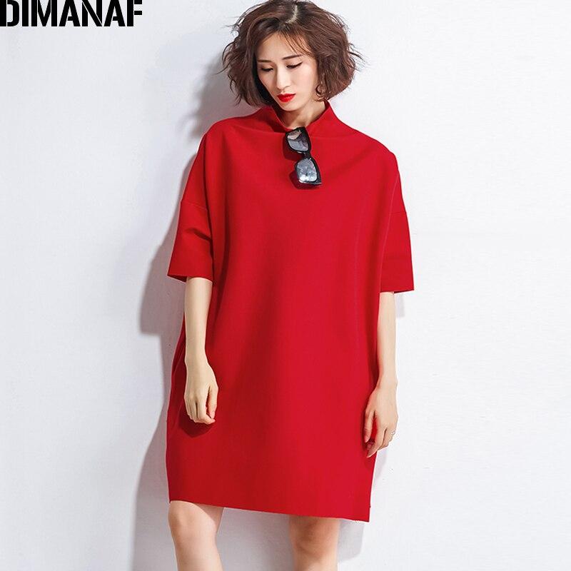 DIMANAF Autumn Dresses Women Turtleneck Cotton Knitting Femme Clothes Elegant Solid Vestidos Plus Size Fashion Ladies Dress 2018 4