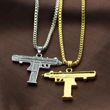 Gold Necklace Pendant Necklace Men Alloy Full Crystal Bling Submachine Chain