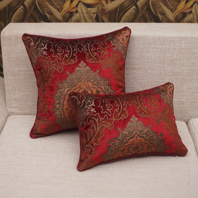 Luxury Throw Pillow Cover Red Floral Jacquard Cushion