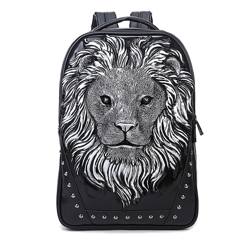 MeanCat Fashion PU Backpack Lion in Gold / White / Black Travelling Backpacks for Men Women free shipping new 2017 fashion pu white black with rose butterfly pattern student backpack cheap backpacks bb033