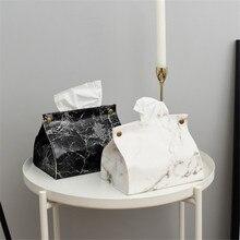 Chic tejido organizador, caja, contenedor de la PU de cuero de patrón de mármol casa coche toalla servilletero para pañuelos de papel caja de bolsa de decoración de la Mesa