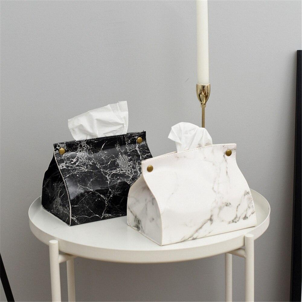 Chic tissu conteneur de caisses en cuir PU marbre modèle maison voiture serviette serviette papiers sac boîte de support étui pochette Table décoration|Boîtes de mouchoirs|   - AliExpress