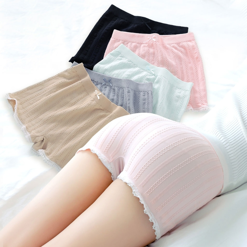 Fashion New Women Girls Elastic Tight   Shorts   Lace Stripe Under Skirt   Short   Pants Boyshort Bowknot 6 Colors High Quality