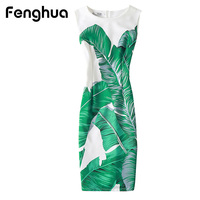 Fenghua Elegant Sexy Women Summer Dress Plus Size Floral Print Party Dresses Slim O Neck Pencil