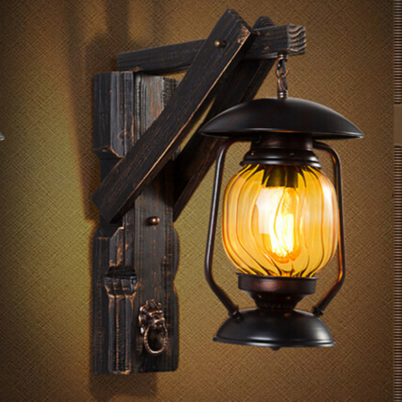 Creative Vintage Iron Wood Lantern Led E27 Outdoor Wall Lamp Loft American Country Light For
