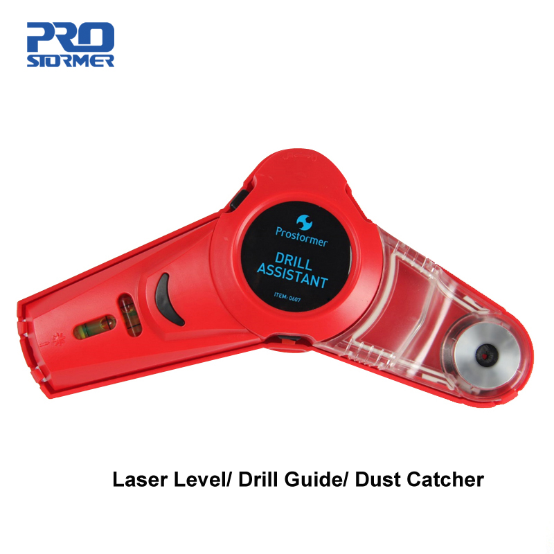PROSTORMER Multi-function Drill Guide Line Laser Square Angle Laser Level Professional Drilling Helper Dust Catcher