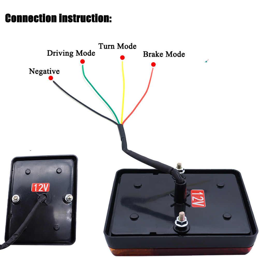 2x 12v car truck led rear tail light warning lights waterproof rear lamp tailight for trailer  [ 1000 x 1000 Pixel ]
