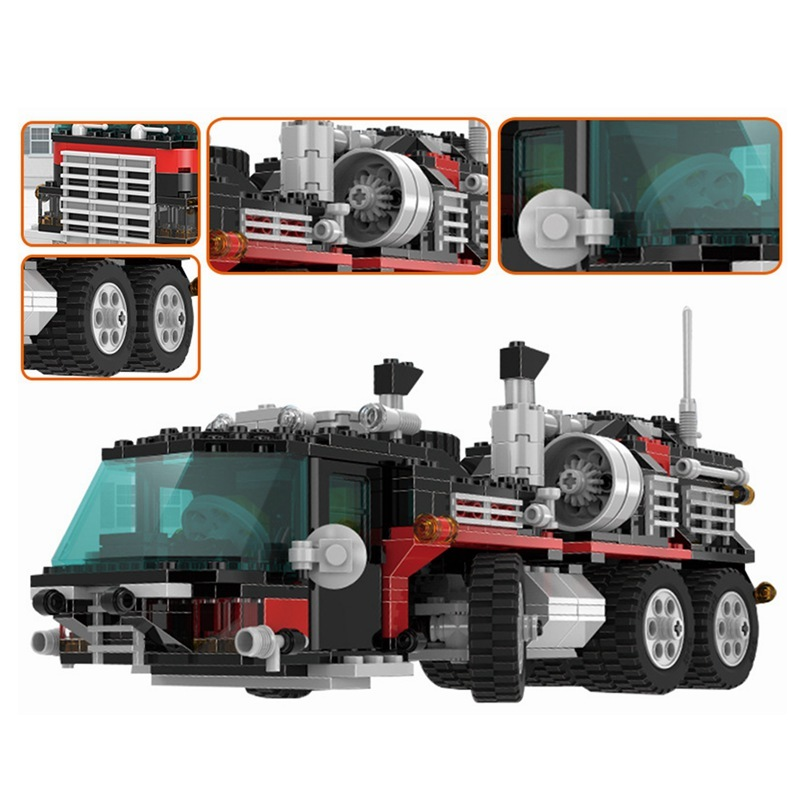 WAZ Compatible Legoe Technic Series 5590 Lepin 21016 1175pcs Truck Trailer with Helicopter building blocks toys for children waz compatible legoe technic series 75913 lepin 21010 914pcs super racing car red truck building blocks bricks toys for children