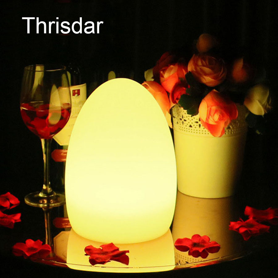 Thrisdar 16 Color LED Egg Bar Table Lamp With Remote Controller USB Rechargeable LED Illuminated Furniture Table Bar KTV Light led remote control colorful eggs rechargeable bar table lamp ktv night club light dimming color led night light free shipping