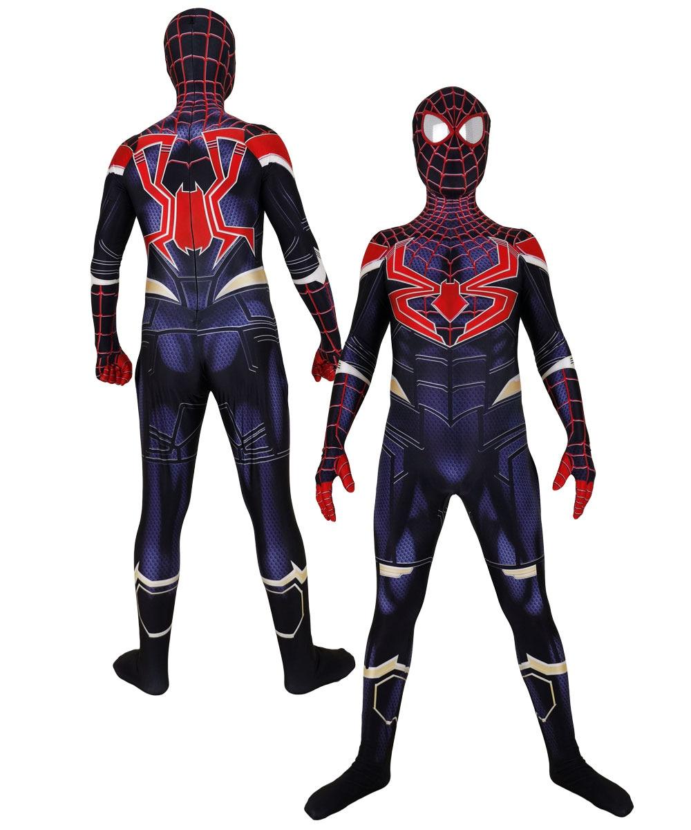 Miles Morales Infinity War Spiderman Halloween Party Cosplay Spider-Man Costumes Jumpsuits Superhero Suit