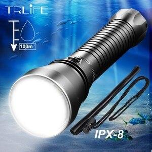 Image 1 - Linterna LED impermeable IPX8 XHP70.2 para buceo, buceo bajo el agua, antorchas de 100M, lámpara de luz, linterna de Camping con batería de 26650